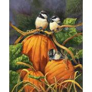"""Chickadees and Pumpkins Autumn House Flag Birds Fall Thanksgiving 28"""" x 40"""""""
