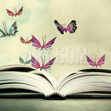 Artistic Image of an Open Book and Colorful Butterflies that Hover in the Sky Print Wall Art By Valentina Photos