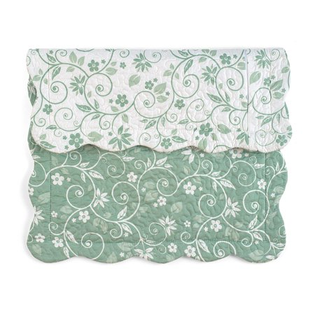Floral Scallop - Floral Scroll Two-Tone  with Scalloped Edges Reversible Pillow Sham, Sham, Sage