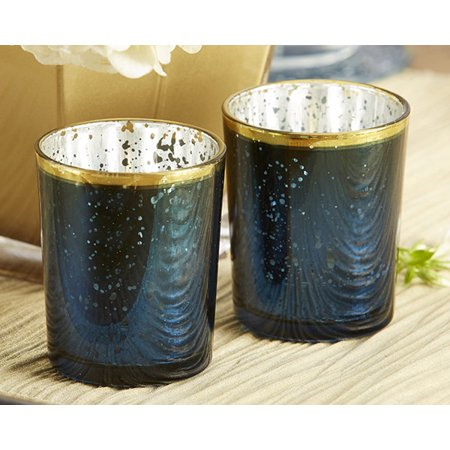 Blue Mercury Glass Tea Light Holder (Set of 4) ()