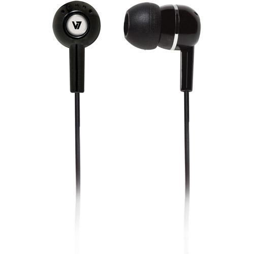 V7 Noise Isolating Stereo Earbuds, Black
