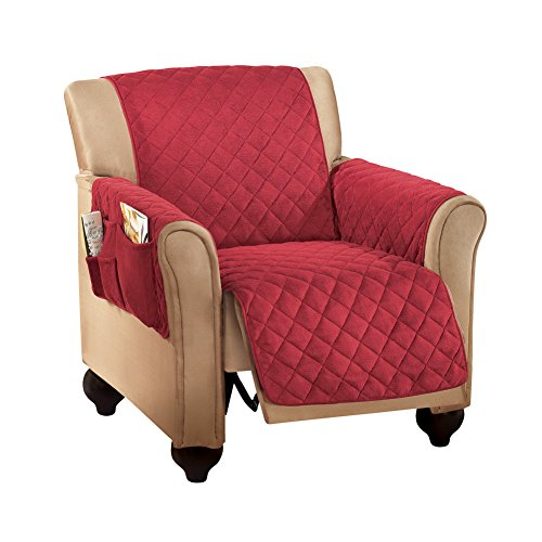 Collections Etc Micro Fleece Quilted Furniture Protector, Recliner, Burgundy