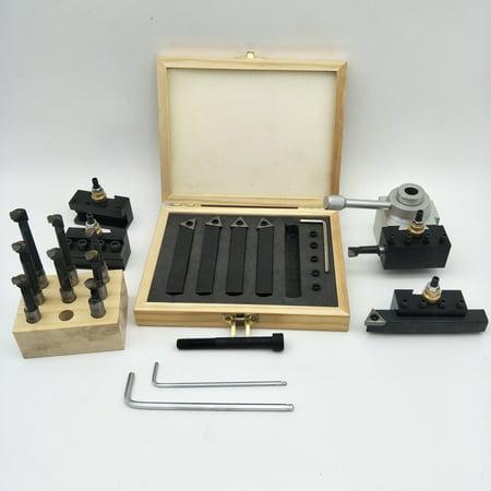 Small Size Portable 19 Pcs Quick Change Post Holder Kit Boring Bar Turning Tool Set Holder for CNC Mini Lathe with 9pcs 3/8