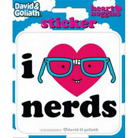Stickers Dice - David and Goliath I Heart Nerds Die Cut Sticker 45122S