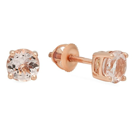 Dazzlingrock Collection 0.45 Carat (ctw) 10K Round Cut Morganite Ladies Solitaire Stud Earrings, Rose Gold