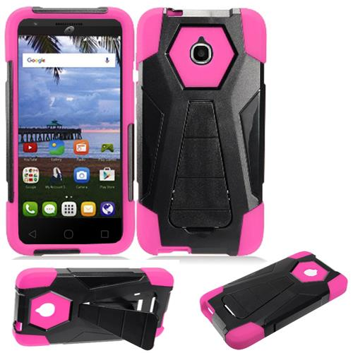 Phone Case for Straight Talk Alcatel onetouch Pixi Avion A570L A571C 4G LTE / Tracfone Alcatel Pixi Bond Rugged Cover Wide (Wide Stand Black-Pink Corner)