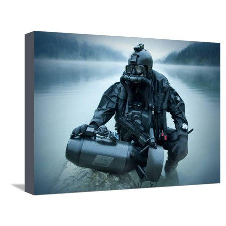 Diver Propulsion Vehicle (Special Operations Forces Combat Diver with Underwater Propulsion Vehicle Stretched Canvas Print Wall Art By Stocktrek Images)