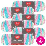 Red Heart With Love Yarn - Candy Stripe, Multipack of 6