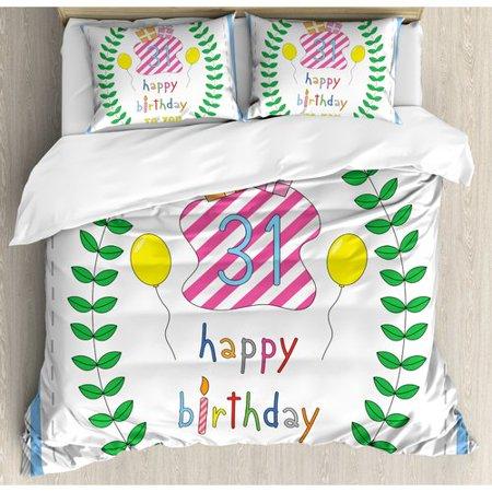 Ambesonne 31st Birthday Decorations Duvet Cover Set