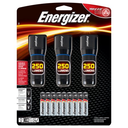 Energizer Metal LED AAA Flashlight 3pk, Vision HD Performance Light, 250 Lumens (Batteries (Mini Two Aaa Cell Flashlight)