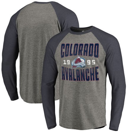 Reebok Colorado Avalanche T-shirt - Colorado Avalanche Fanatics Branded Timeless Collection Antique Stack Tri-Blend Long Sleeve Raglan T-Shirt - Ash
