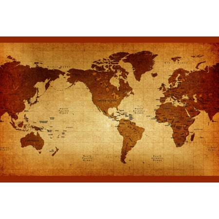 (Old Detailed America Centered World Antique Style Map Poster 18x12 inch)