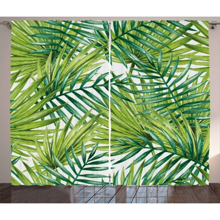 Plant Curtains 2 Panels Set, Watercolor Tropical Palm Leaves Colorful Illustration Natural Feelings, Window Drapes for Living Room Bedroom, 108W X 63L Inches, Fern Green Lime Green, by Ambesonne ()