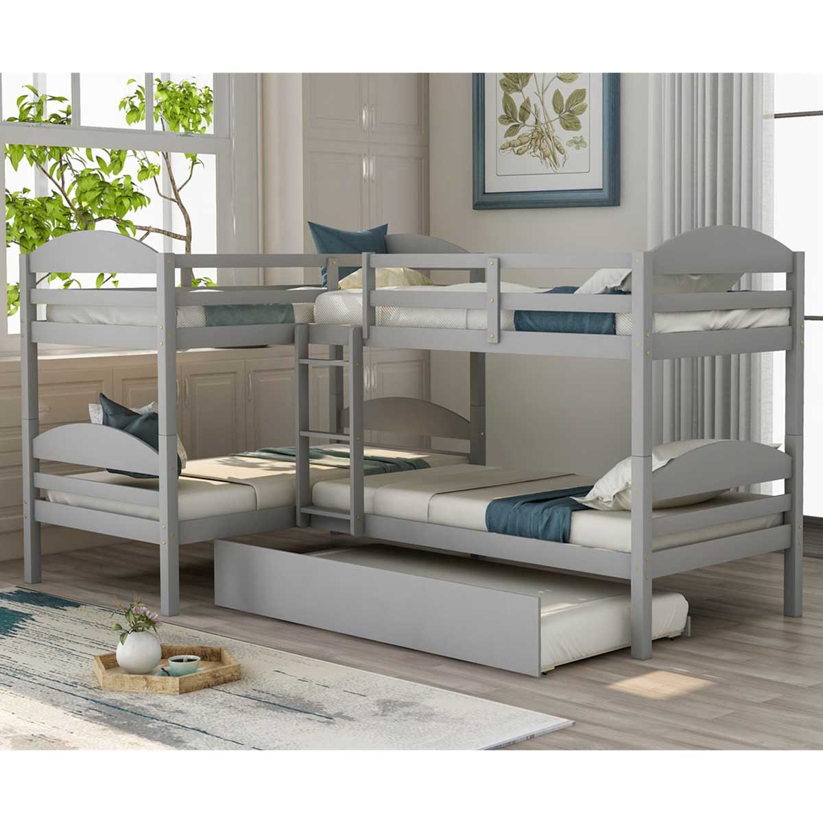 Picture of: Modernluxe Twin L Shaped Triple Bunk Bed With Trundle And Ladder Walmart Com Walmart Com