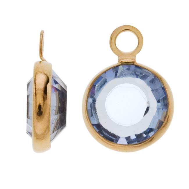 SWAROVSKI ELEMENTS Gold Plated Channel Crystal Charm Light Sapphire 10mm (8)