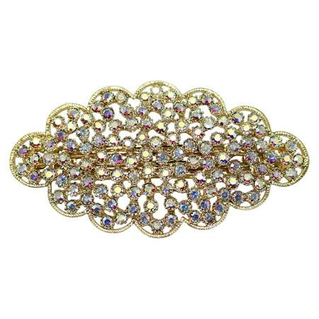 Faship Gorgeous Rhinestone Crystal Floral Hair Barrette - Crystal Barrettes
