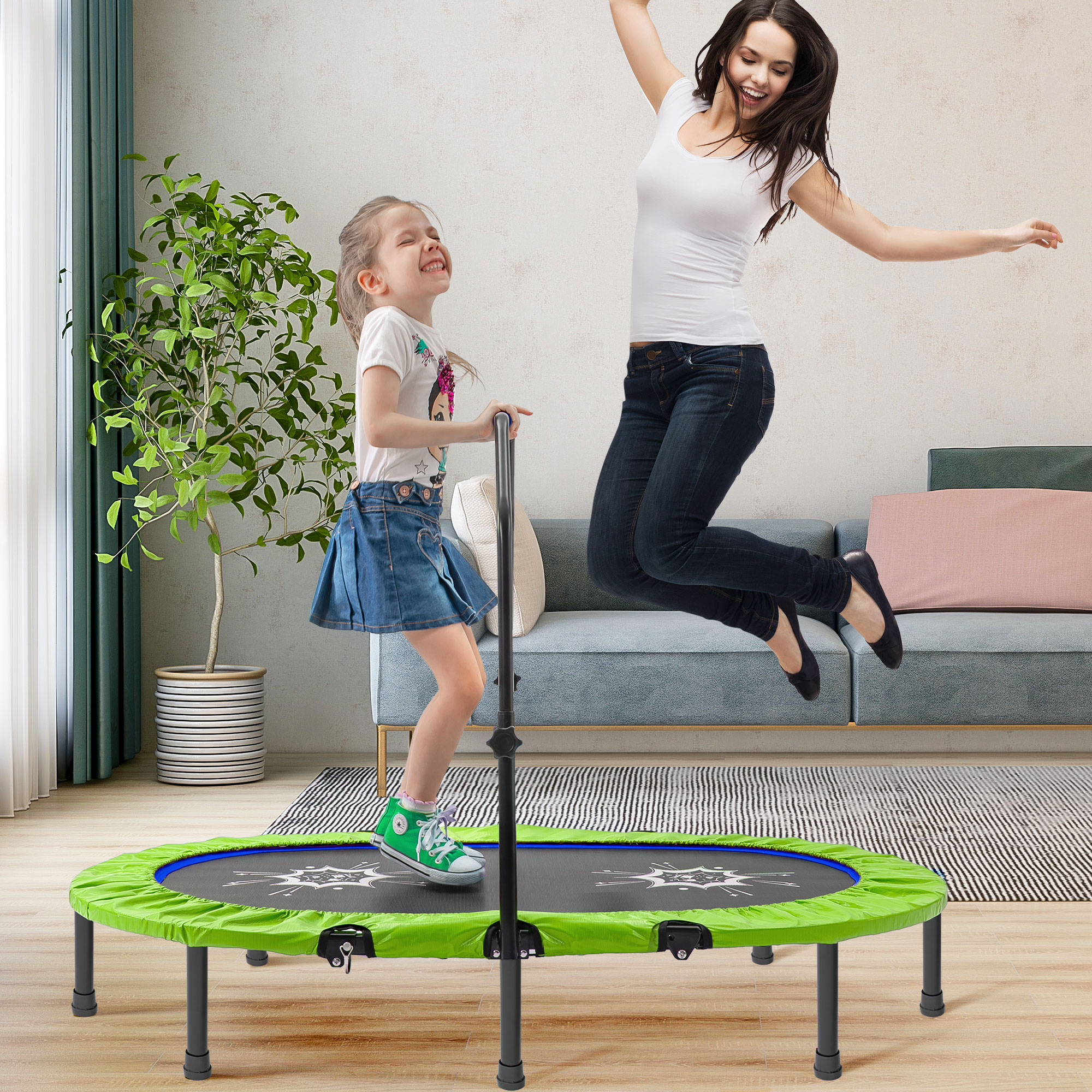 Blue Age 2-10 Gulujoy Mini Trampoline for Kids Indoor Outdoor with Enclosure Net and Safety Pad 55 Inch Heavy Duty 130Lbs