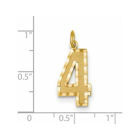 14k or jaune y Casted Grand Diamond Cut Num?ro 4 (10x25mm) Pendentif / Breloque - image 1 de 2