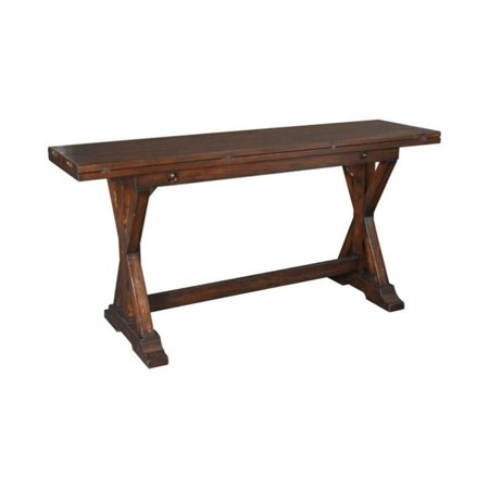 Beaumont Lane Drop Down Console Table in Rustic (Eli Reclining Sofa With Drop Down Table)