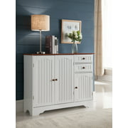 kitchen buffet cabinet. White  Walnut Wood Contemporary Kitchen Storage Buffet Display Cabinet With Drawers Doors Sideboards Buffets Walmart com