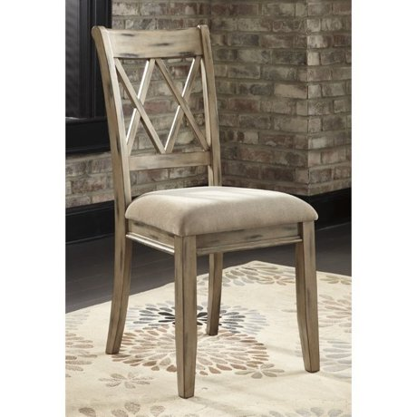 Ashley mestler upholstered dining chair in antique white for Meuble ashley circulaire