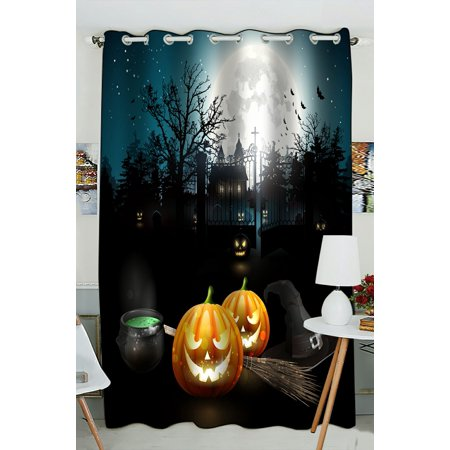 PHFZK Halloween Theme Window Curtain, Moon Pumpkin Castle Window Curtain Blackout Curtain For Bedroom living Room Kitchen Room 52x84 inches One - Windows 7 Halloween Themes 2017