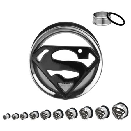 DC Comics PSFSMC-916PR Single Flared Tunnels 316L Stainless Steel Plugs with Superman Logo Cut Out, 0.56 - Superman Cut Out