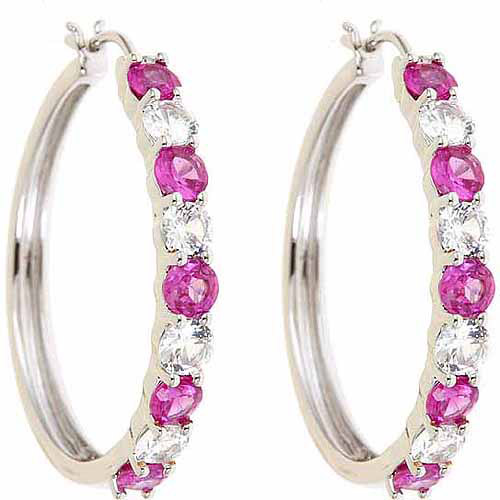 Created Pink sapphire and Created Pink sapphire Rhodium-Plated Earrings