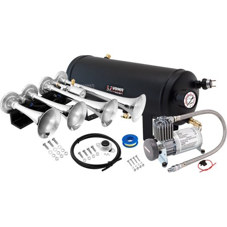 - Vixen Horns Loud 149dB 3/Triple Chrome Trumpet Train Air Horn with 1.5 Gallon Tank and 150 PSI Compressor Full/Complete Onboard System/Kit VXO8815/4124C