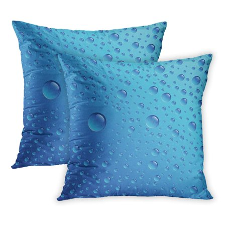 ECCOT Waterdrop Water Drops on Blue Rain Condensation Spray Turquoise Abstract PillowCase Pillow Cover 20x20 inch Set of 2