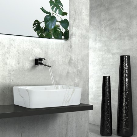 Kinbor Rectangle Bathroom Porcelain Ceramic Vessel Sink Vanity Basin Bowl Above Counter White Art Basin