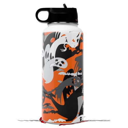 Flask Mob Halloween (Skin Wrap Decal compatible with Hydro Flask Wide Mouth Bottle 32oz Halloween Ghosts (BOTTLE NOT)