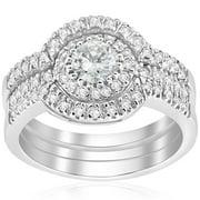 2 ct round enhanced diamond engagement halo wedding ring trio set 14k white gold - Wedding Ring Trios