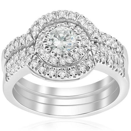 2 ct Round  Diamond Engagement Halo Wedding Ring Trio Set 14K White Gold - image 4 de 4