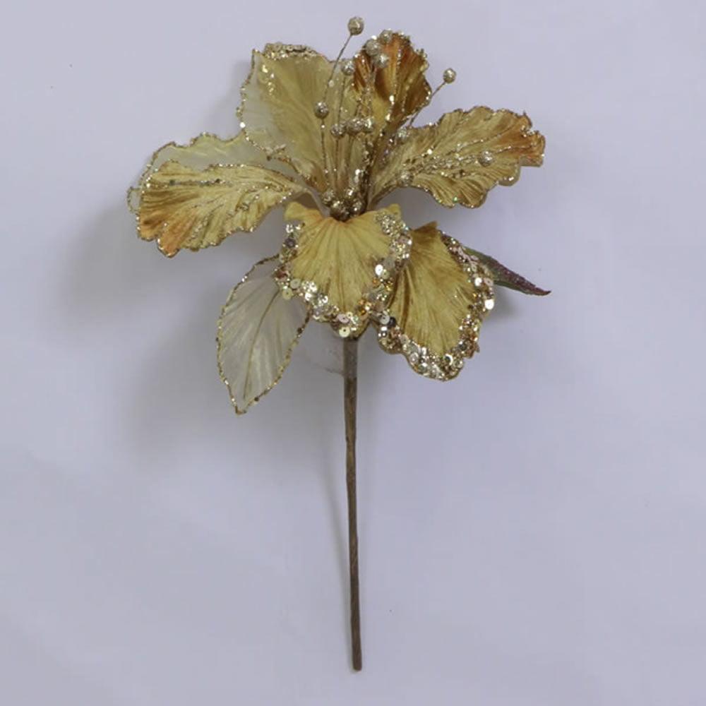 """27"""" Gold Glitter Amaryllis 7.5"""" Flower"""