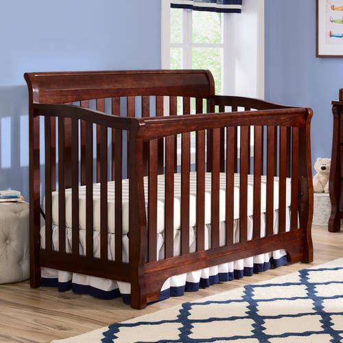 Delta Children's Products Eclipse 4-in-1 Fixed-Side Convertible Crib, Black Cherry