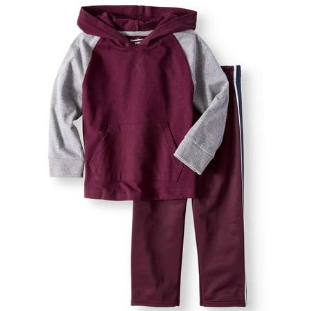 Comfy Hoodie Set - Long Sleeve Raglan Hoodie & Tricot Pants, 2pc Outfit Set (Toddler Boys)