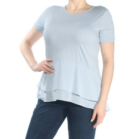 Womens Light Blue Short (MICHAEL KORS Womens Light Blue Double Hem Short Sleeve Jewel Neck Peplum Top  Size: XL)
