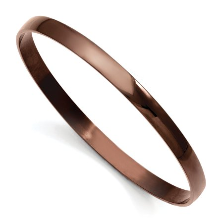 Ip Plated Bracelet (Roy Rose Jewelry Stainless Steel Brown IP Plated Bangle Bracelet 8'' inches)