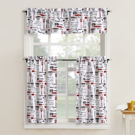 Mainstays Bistro 3 Piece Kitchen Curtain Tier and Valance Set ()