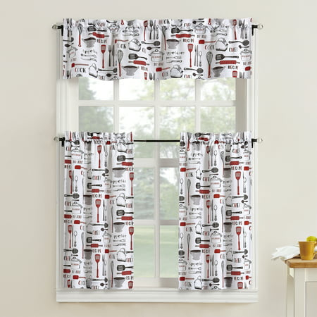 Mainstays Bistro 3 Piece Kitchen Curtain Tier and Valance Set