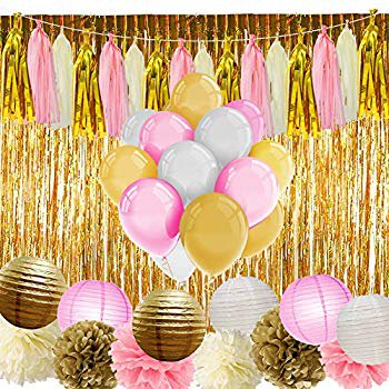 Pink and Gold Party Supplies with Balloons Tissue Flowers Paper Lanterns Tassel Garland Fringe Curtain for Baby Shower Girl Birthday Decorations