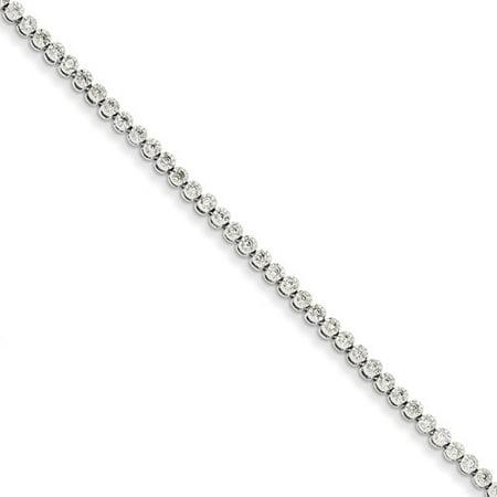 14K White Gold Diamond Tennis Bracelet  Carat Wt  0 5Ct