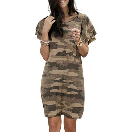 Hawaiian Women Loose Casual T-shirt Dress O-neck Short Sleeve Camouflage Print Sun Dress Ladies Holiday Ruffle Loose Tunics Tops Dress Ladies Beach Holiday Evening Party Loose Sundress