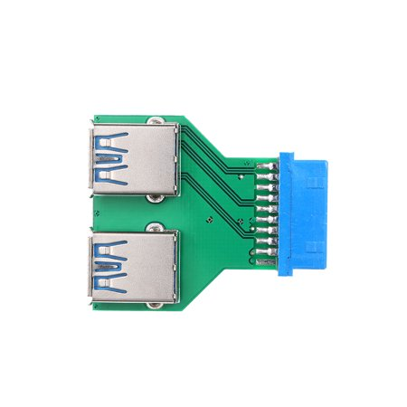20Pin to Dual USB3.0 Adapter Connverter Desktop Motherboard 19Pin/20Pin Header to 2 Ports USB 3.0 A Female Connector Card Reader - image 3 de 7