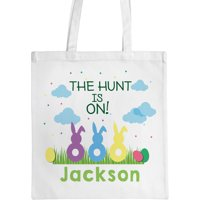 """Personalized Easter Bunnies Tote Bag, Sizes 11"""" x 11.75"""" and 15"""" x 16.25"""""""