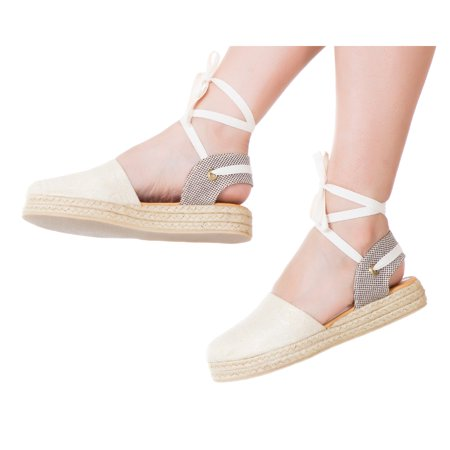 0b94ec9c4f VIDALeather - Vida Leather Women Lace Up Ankle Tie Flat Espadrilles Fasion  Solid Color Comfortable Colombian Shoes Calzado de Moda de Damas Beige 10  ...