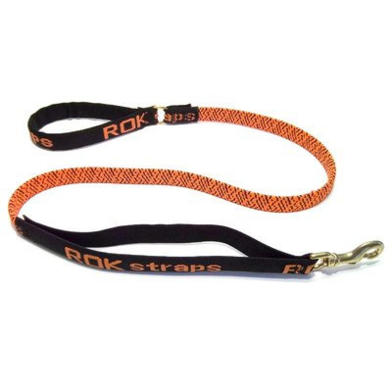 ROK Straps Stretch 54 Leash For Large Dogs 60lbs Plus - Color: Orange w/Black