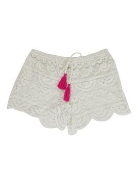 Miken Juniors Scalloped Crochet Cover-Up Shorts