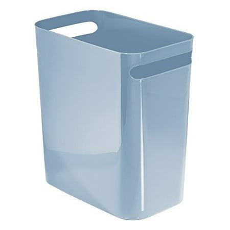 InterDesign Una Wastebasket Trash Can - 12 Inch, Slate Blue (Trash Compactor 12 Inch)